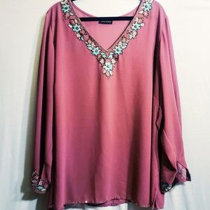 Lane Bryant Sheer Blouse with Floral Embellishment